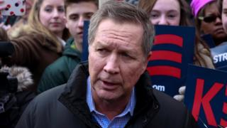 Republican presidential candidate and Ohio Governor John Kasich speaks to the press outside a polling station in Concord, New Hampshire, USA, on 09 February 2016.