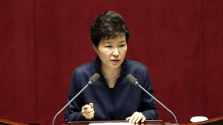 South Korean President Park Geun-hye delivers a speech at the National Assembly in Seoul on Tuesday 16 February