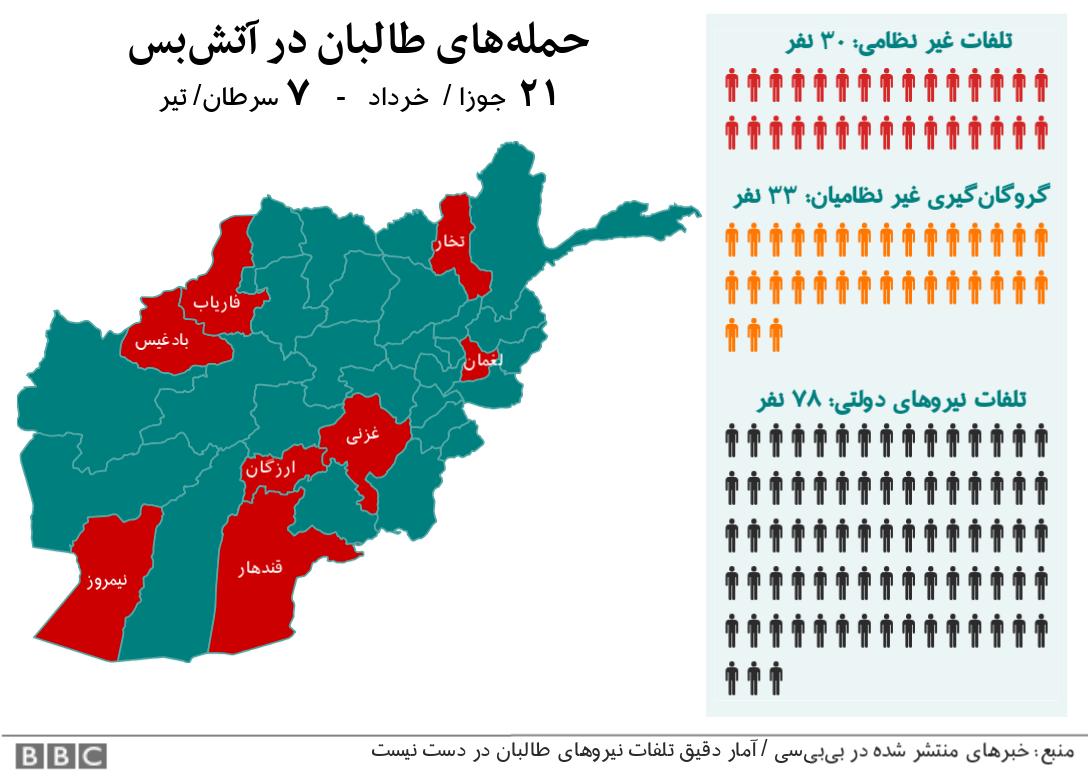 نقشه حملات طالبان در طول مدت آتشبس