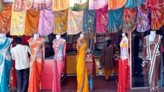 Negocio de telas en Bombay, India