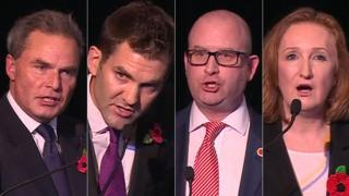 UKIP candidates (L-R) Peter Whittle, John Rees-Evans, Paul Nuttall and Suzanne Evans