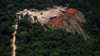 View of a sawmill during an overflight by Greenpeace activists over areas of illegal exploitation of timber in the state of Para, Brazil, on October 14, 2014