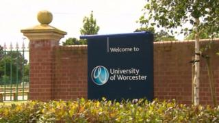 University of Worcester sign