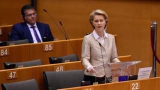 Ursula von der Leyen addressing the EU parliament in Brussels
