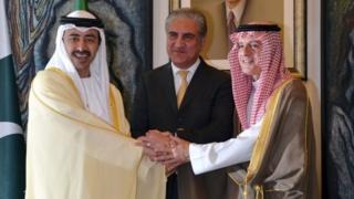 शाह महमूद क़ुरैशी के साथ ऊदी अरब और संयुक्त अरब अमीरात के विदेश मंत्री