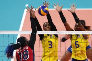Colombia v Dominican Republic volleyball match at the Callao Sports Centre, Lima, Peru