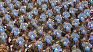India's Central Reserve Police Force Marching Contingent marches during the 71st Republic Day celebrations in New Delhi, India, 26 January 2020