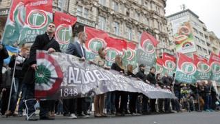 Jobbik supporters in Budapest in 2014