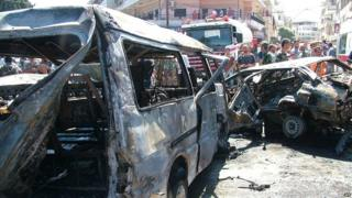 Aftermath of car bomb explosion in Latakia (2 September 2015)
