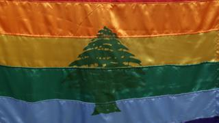 File photo showing a gay pride flag with the symbol of the cedar tree in the middle is carried by activists during an anti-homophobia rally in Beirut (30 April 2013)