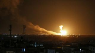 A ball of fire is seen following an Israel air strike at Rafah in the southern Gaza Strip on 23 February 2020