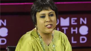 Barkha Dutt speaks at the Women In The World Summit on April 23, 2015 in New York City.