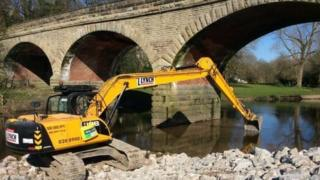 Work on the Linton bridge