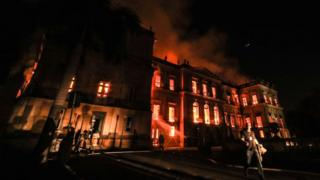 A fire burns at the National Museum of Brazil on 2 September 2018 in Rio de Janeiro, Brazil
