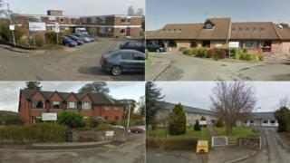 Denbighshire care homes: (clockwise from top left) Dolwen, Denbigh; Hafan Deg, Rhyl; Cysgod y Gaer, Corwen; Awelon, Ruthin