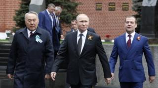 Nazarbayev, Putin və Medvedev