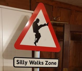 Silly walks zone sign