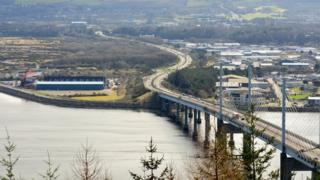 A photo of the Caley Thistle stadium and the Kessock Bridge taken from Ord hill near Inverness