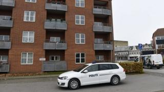 Police vehicles outside an apartment building in Aabenraa, where the three bodies have been found. Photo: 31 October 2016