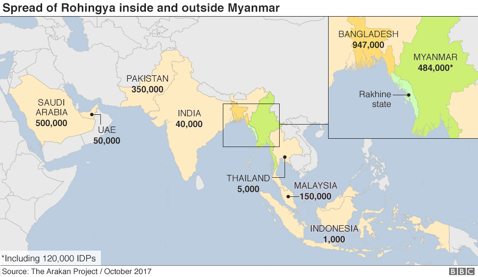Map showing spread of Rohingya inside and outside Myanmar