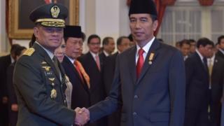 Jenderal Gatot Nurmantyo usai dilantik Presiden Joko Widodo sebagai Panglima TNI, 8 Juli 2015.