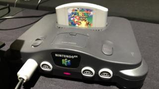 Super Mario cartridge in a Nintendo 64