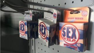 Packets of condoms in a pharmacy in Barquisimeto