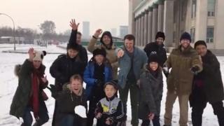 Foto del grupo en el tour de Corea del Norte.