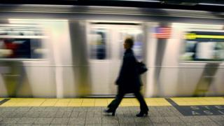 Someone walking on subway platform at Grand Central station in New York, the US - archive shot