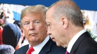 Donald Trump and Recep Tayyip Erdogan in Brussels, July 2018