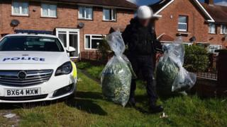 police officer carrying bags of cannabis