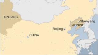 Map of Shenyang and Xinjiang