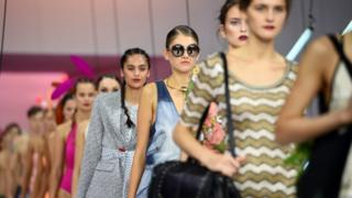 Models present various designers at the Myer Spring 2016 fashion launch in Sydney