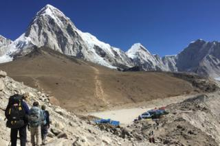 This April 10, 2016 photo shows trekkers heading to Everest Base Camp, Nepal