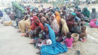 Photo released by Nigerian Army showing people it says have escaped from Boko Haram