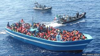 The Irish Naval Service was involved in three separate rescue missions off the Libyan coast on Monday