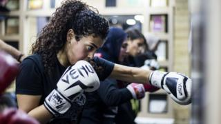 Rugby A woman boxing during a mixed martial arts class in Giza, Egypt - Sunday 24 November 2019