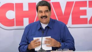 President Nicolas Maduro smiles during the opening ceremony of a hospital in Maturin (3/03/2017)