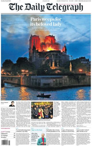 Daily Telegraph front page on 16 April