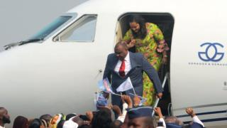 DR Congo opposition leader Jean-Pierre Bemba disembarks from a plane at N'djili International Airport in Kinshasa, Democratic Republic of Congo -1 August 2018