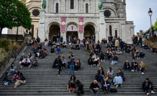 Police had to evacuate crowds from the steps of the Sacré-Cœur in Paris on Tuesday