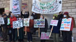 Protesters outside meeting in Southampton