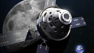 Ilustração da da nave espacial Órion chegando na Lua