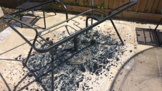Darren Smith shares a photo of his shattered patio table