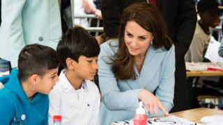 Kate with schoolchildren in Luxembourg