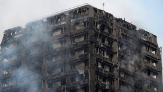 The burned building of Grefell Tower block in north London