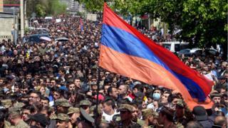 протест в Ереване 23 апреля 2018