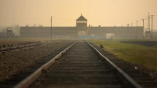 The railway track leading to the infamous Death Gate at the Auschwitz II Birkenau extermination camp.