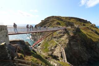 View of the new footbridge re-connecting both halves of Tintagel Castle for the first time in 500 years, has at long last been opened.