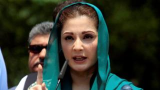 Maryam Nawaz gestures as she speaks to media after appearing before a Joint Investigation Team (JIT) in Islamabad, Pakistan, on 5 July 2017